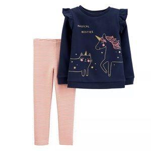 NWT Baby Girl Carter's 2-Piece Unicorn Fleece
